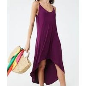 purple hi lo cami dress